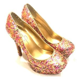 Jessica Simpson Multi-colored sequin stilettos